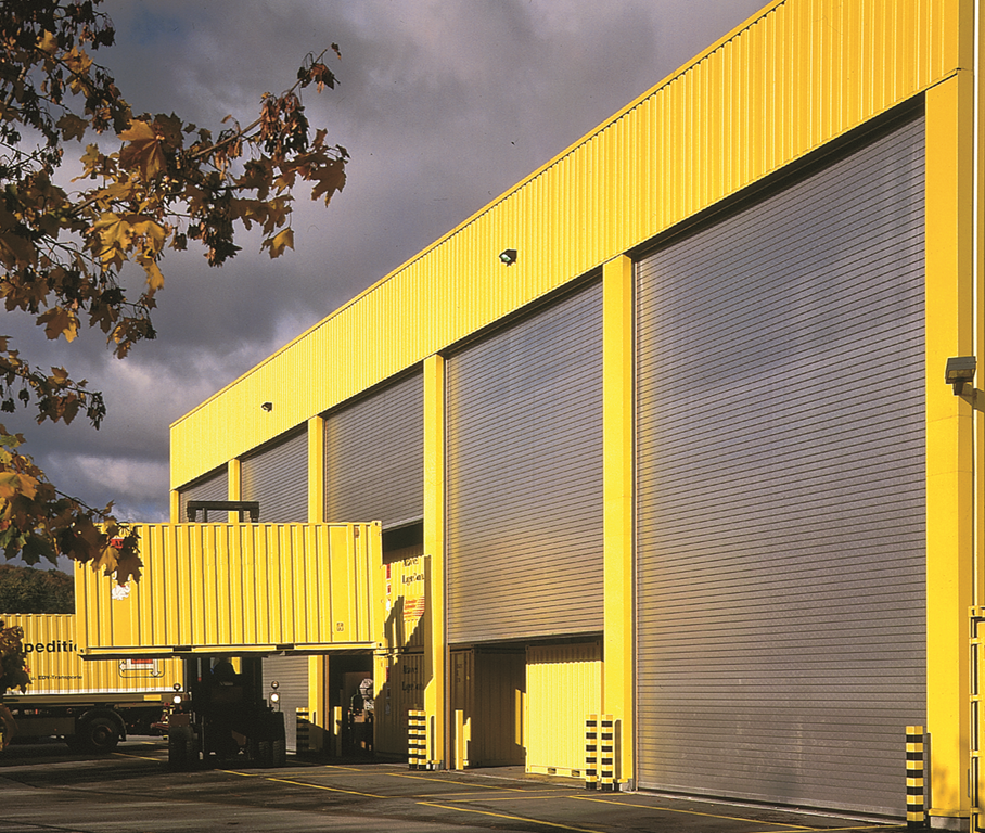 large-container-factory-yellowhigh speed doors Installalation Services and Maintainenance by Sprint Door Systems Roller Shutter Specialists UK